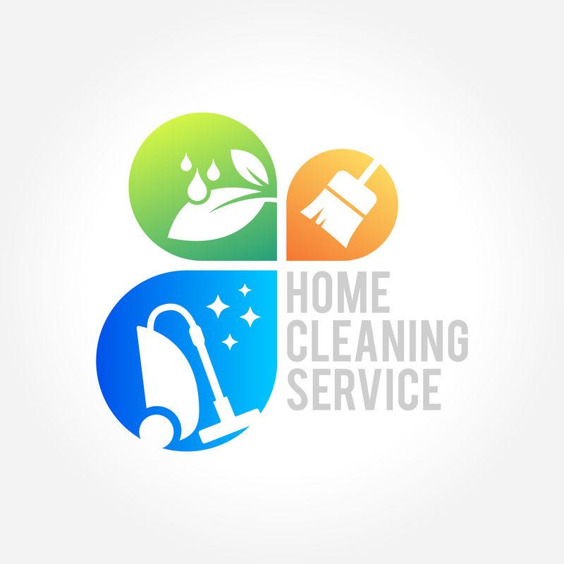 清洁服务商业标志设计-室内、家居和建筑的环保理念