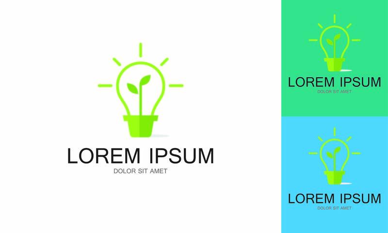 灯泡创意绿色标志模板