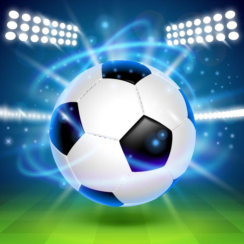 球场上的足球-封面背景-矢量图解