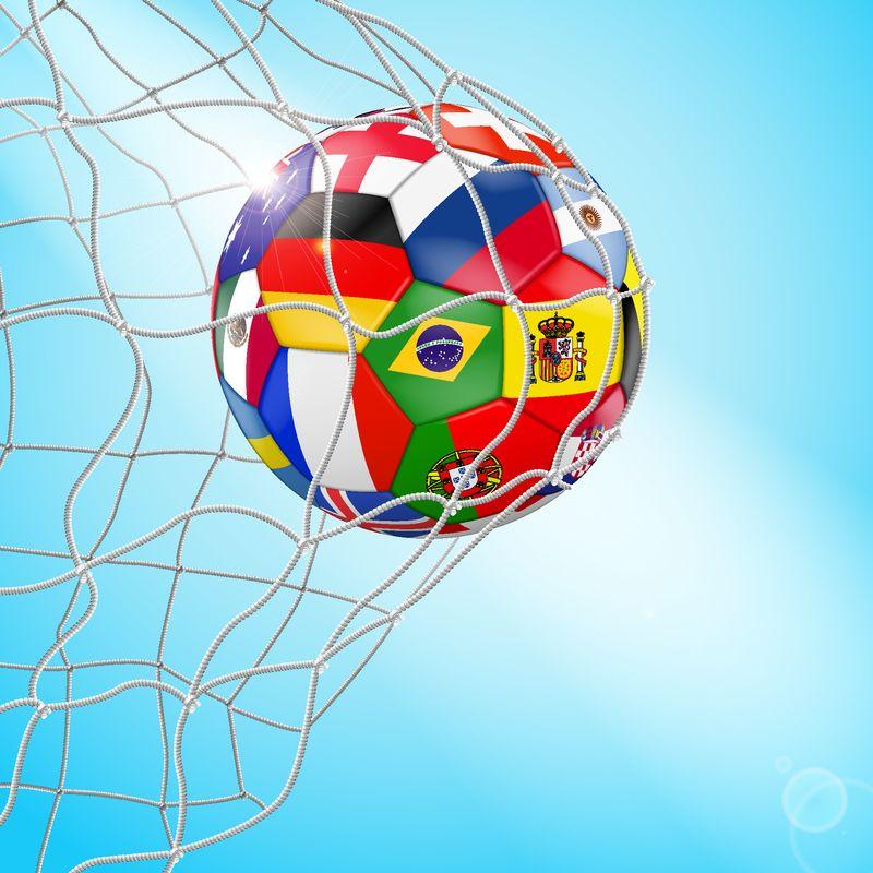球门中的足球三维图