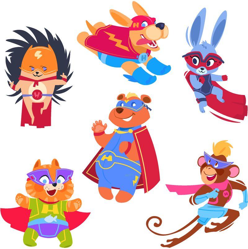 超级英雄动物儿童-穿着超级英雄服装的有趣动物-cosplay矢量字符集-保护者与救世主、刺猬兔猴图