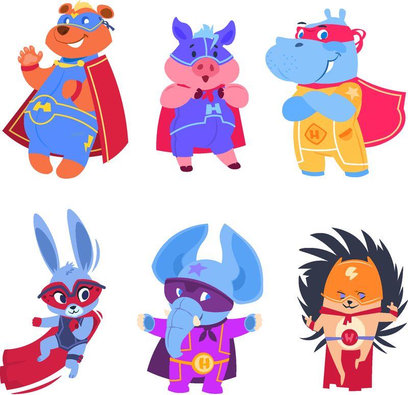 超级英雄动物-婴儿超级英雄人物集-动物保护者、救世主、刺猬、大象和熊的插图