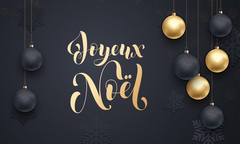 法国圣诞快乐快乐诺埃尔金色装饰书法字体