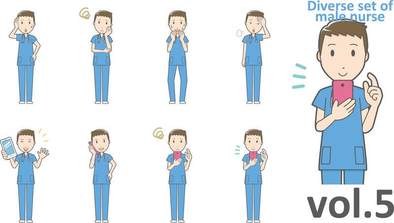 不同类型的男性护士,EPS10矢量格式第5卷