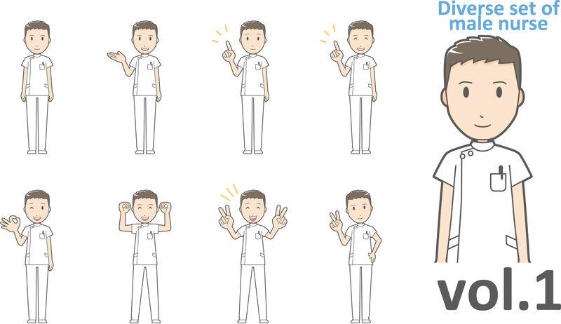 不同类型的男性护士,EPS10矢量格式第1卷