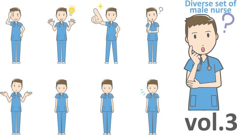 不同类型的男性护士,EPS10矢量格式第3卷