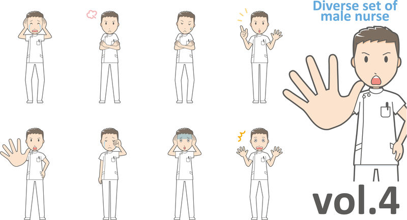 不同类型的男性护士,EPS10矢量格式第4卷