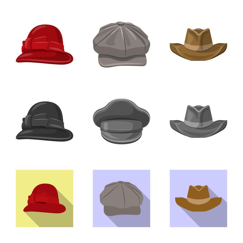 头盔和帽子图标的矢量设计-一套头盔和附件库存矢量图
