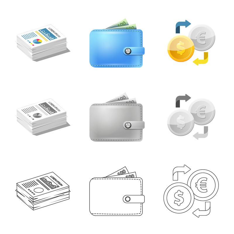 银行和货币符号的位图设计-银行和票据库存位图插图的集合