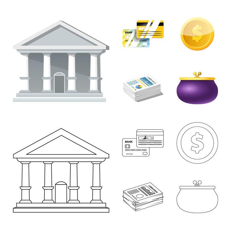 银行和货币符号的矢量图-用于Web的银行和票据库存符号集合