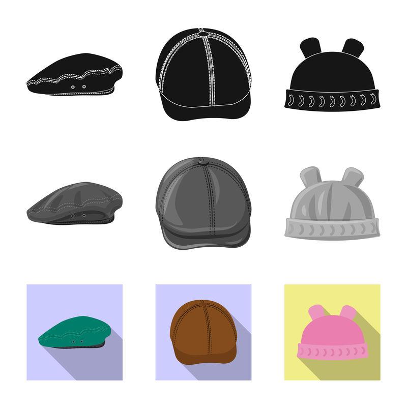 帽子和帽子标志的矢量设计-用于Web的头饰和附件库存符号集合