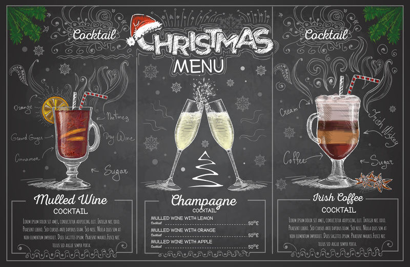 古典粉笔画圣诞菜单设计与香槟。休息