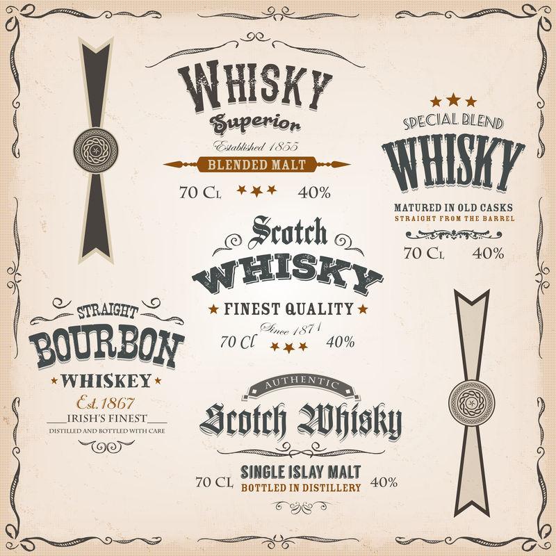 年份背景上的威士忌标签和封条