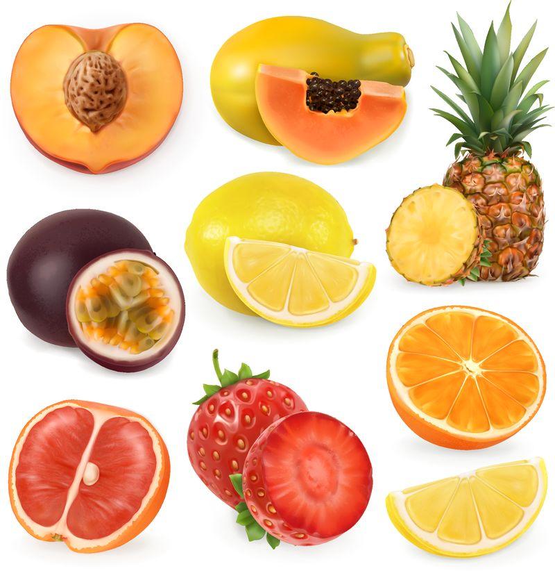 多汁的成熟甜水果-三维现实主义-矢量图标集