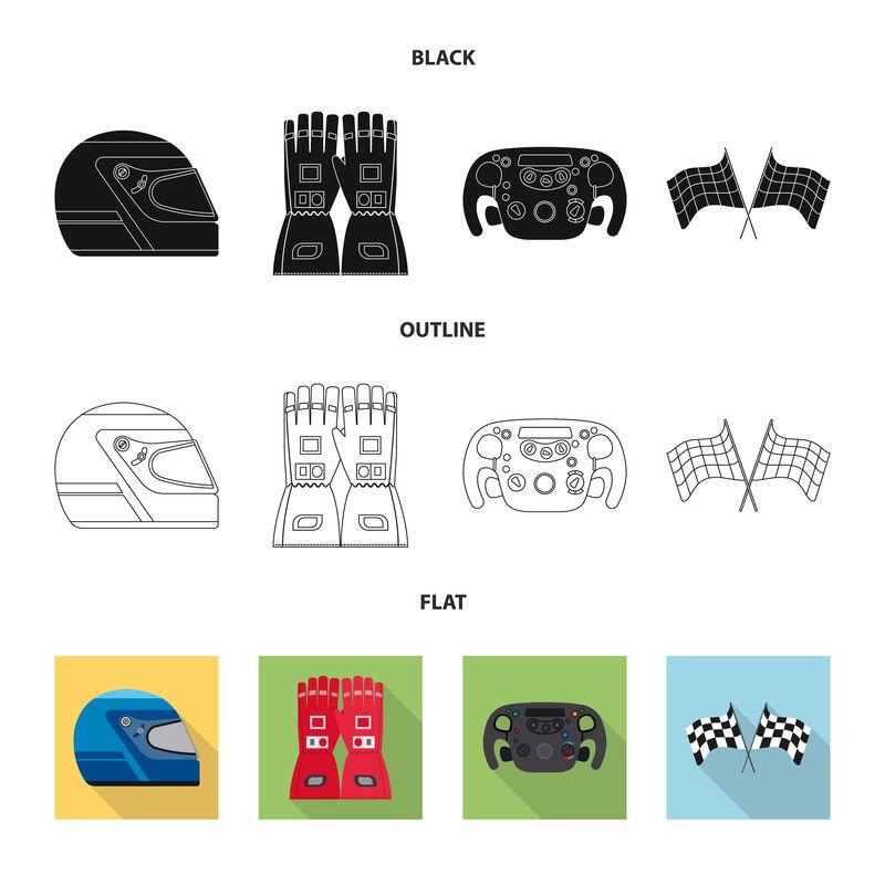 汽车和拉力符号的矢量设计-用于股票的汽车和赛车矢量图标集