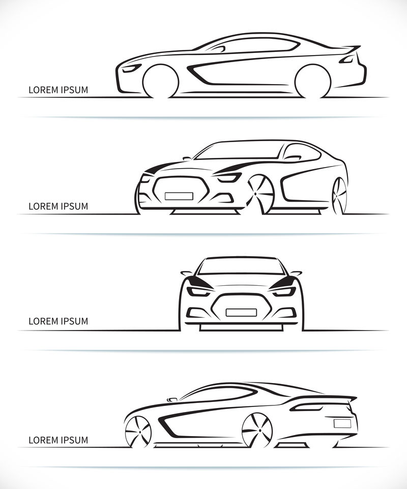 Vector跑车轮廓集