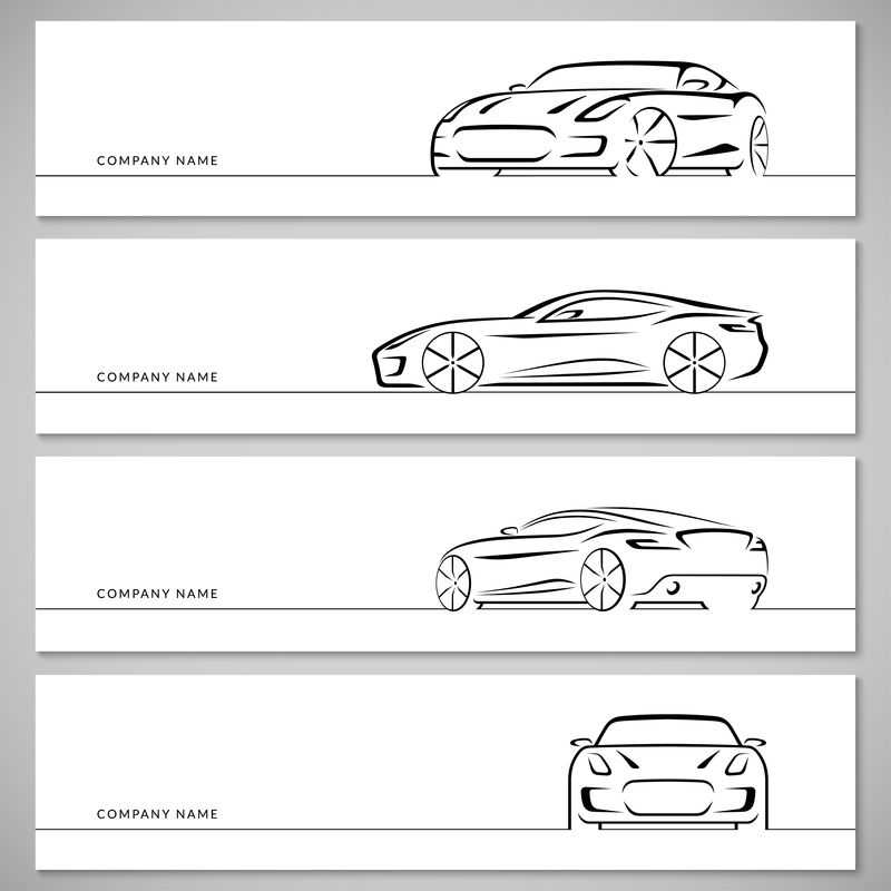跑车矢量轮廓、轮廓、轮廓集