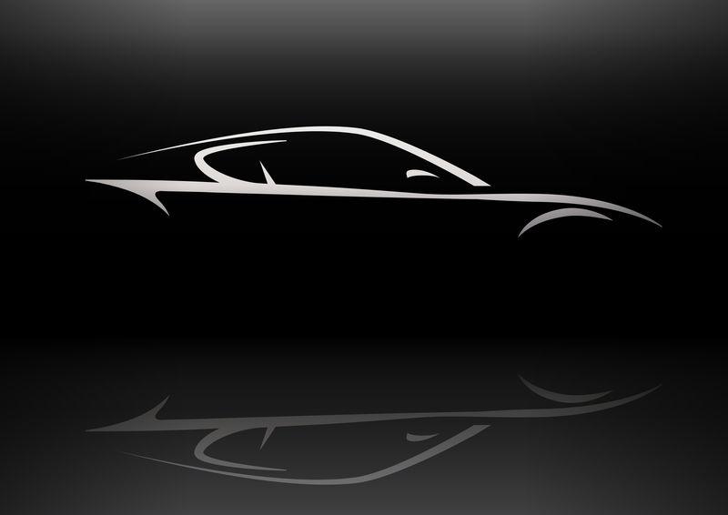 概念超跑车轮廓矢量反射设计