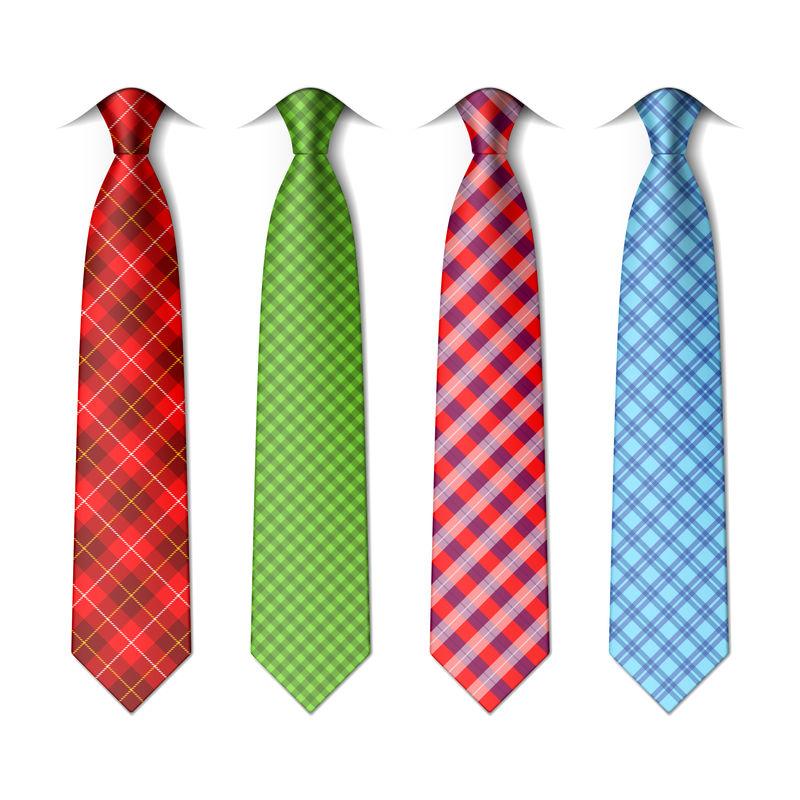 格子花纹丝质领带模板-易于编辑的颜色-矢量