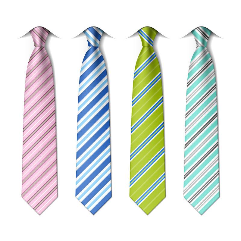 条纹丝质领带模板-易于编辑的颜色-矢量