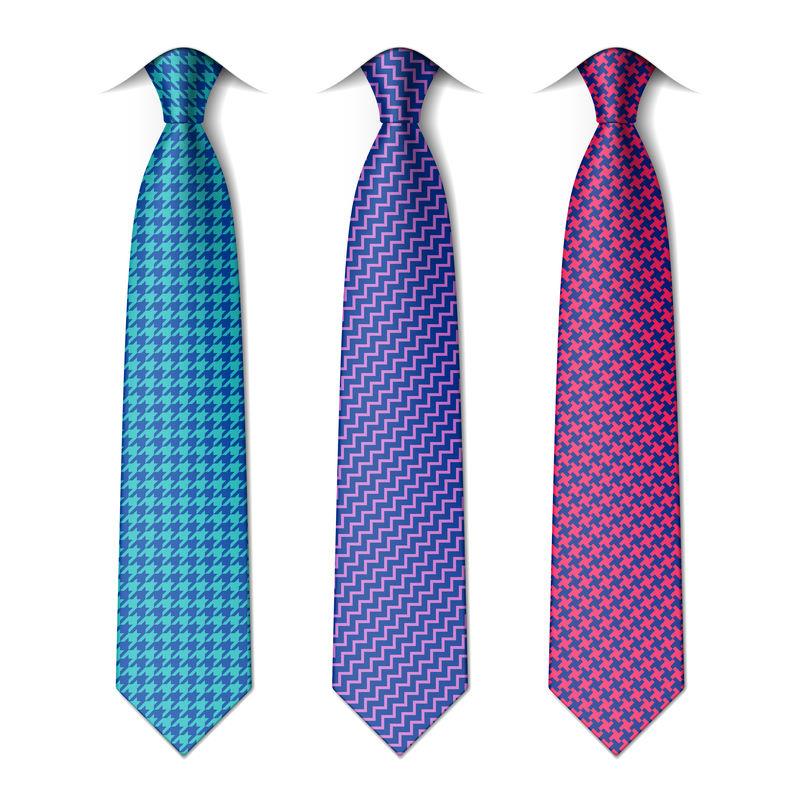 犬牙纹和锯齿纹领带-矢量