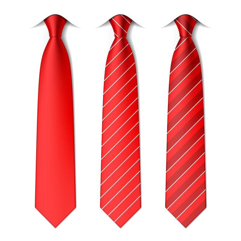红色平纹和条纹领带-矢量