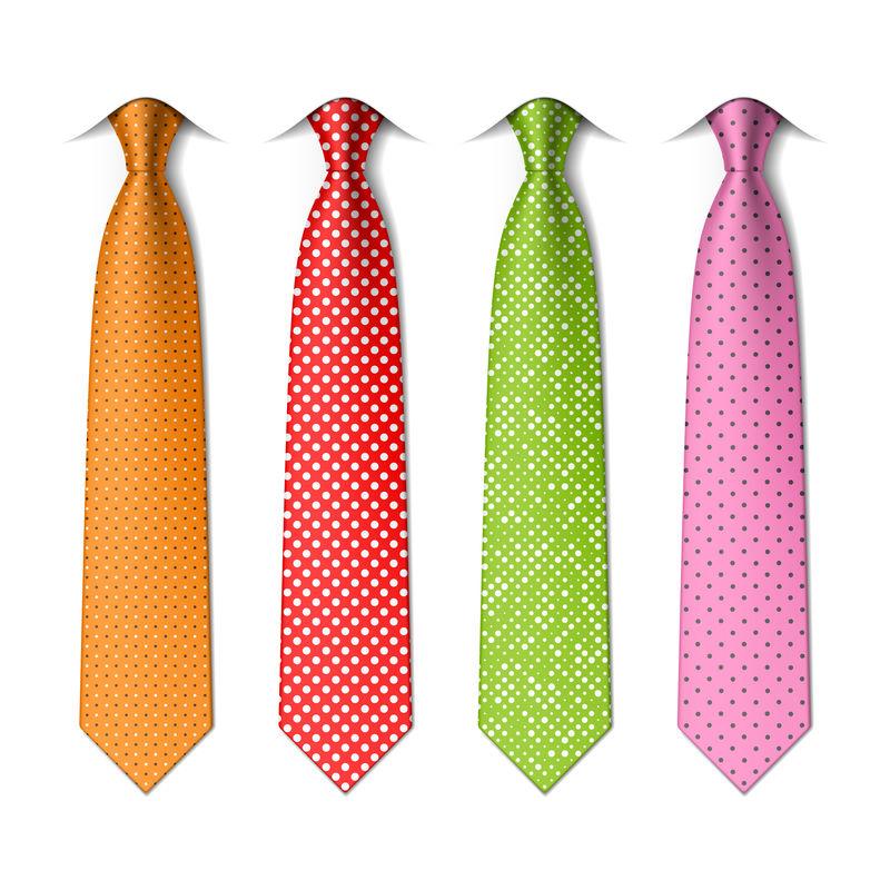 波尔卡和针点丝绸领带模板-易于编辑的颜色-矢量