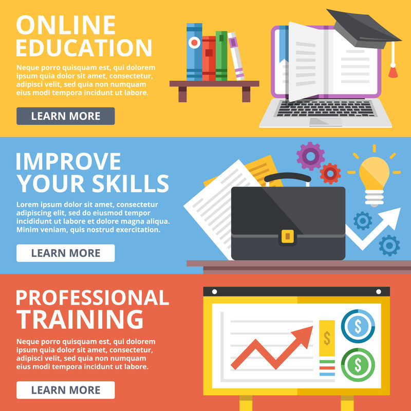 在线教育-技能提升-专业培训平面插画概念集-现代平面设计理念为网页横幅-网站-印刷材料-信息图形-平面示意图