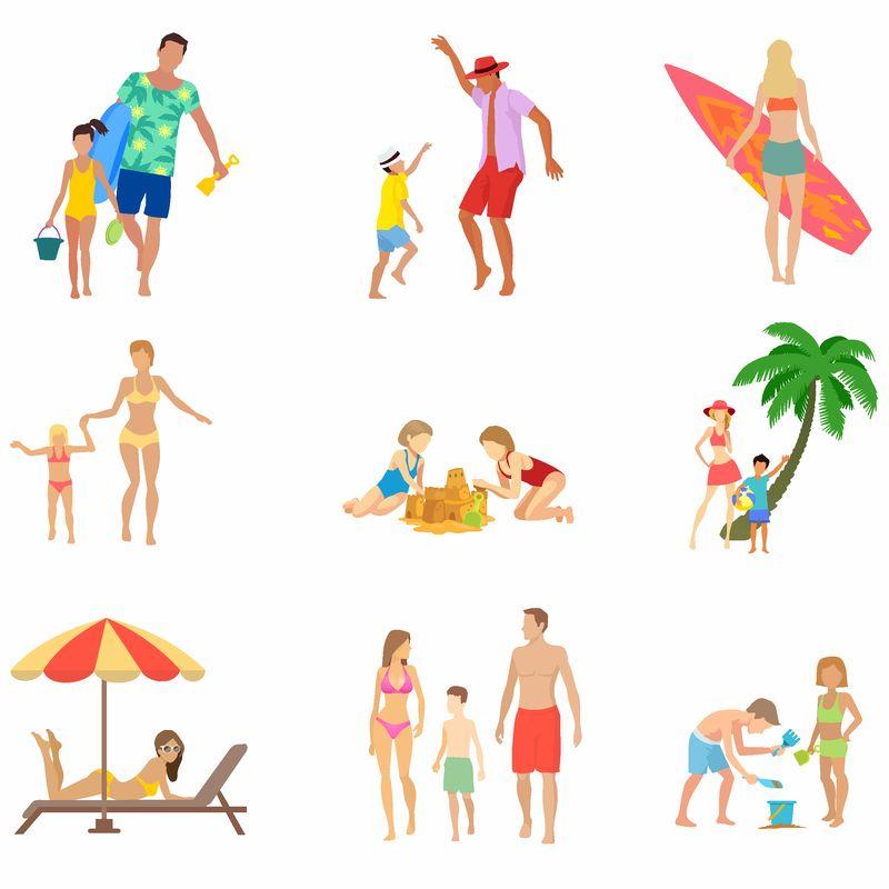 海滩上的一群人-男、女卡通人物暑假-白底隔离-乱七八糟的副本