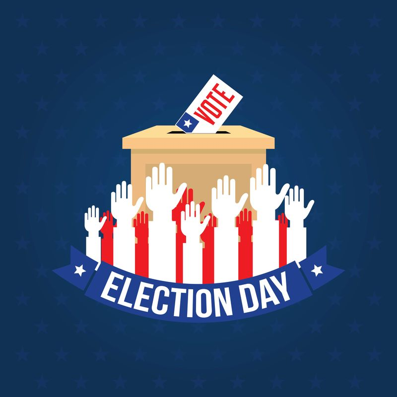 美国总统选举日概念载体-扁平式投票概念-矢量图解