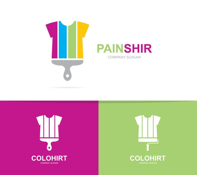 衬衫和刷子商标组合矢量。服装和画笔符号或图标。独特的布料和印刷标识设计模板。