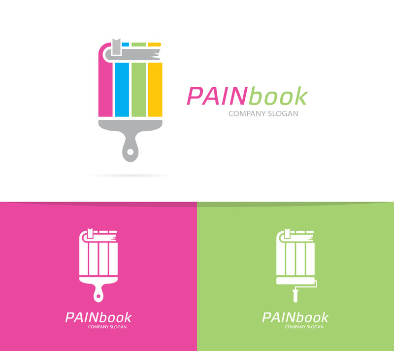 书画画刷商标组合矢量。书店和图书馆符号或图标。独特的刷子和教育标识设计模板。