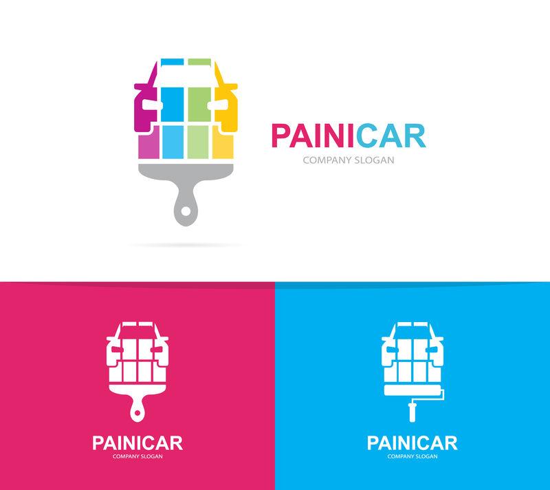 汽车和刷子商标组合矢量。自动和画笔符号或图标。独特的维修和汽车标志设计模板。