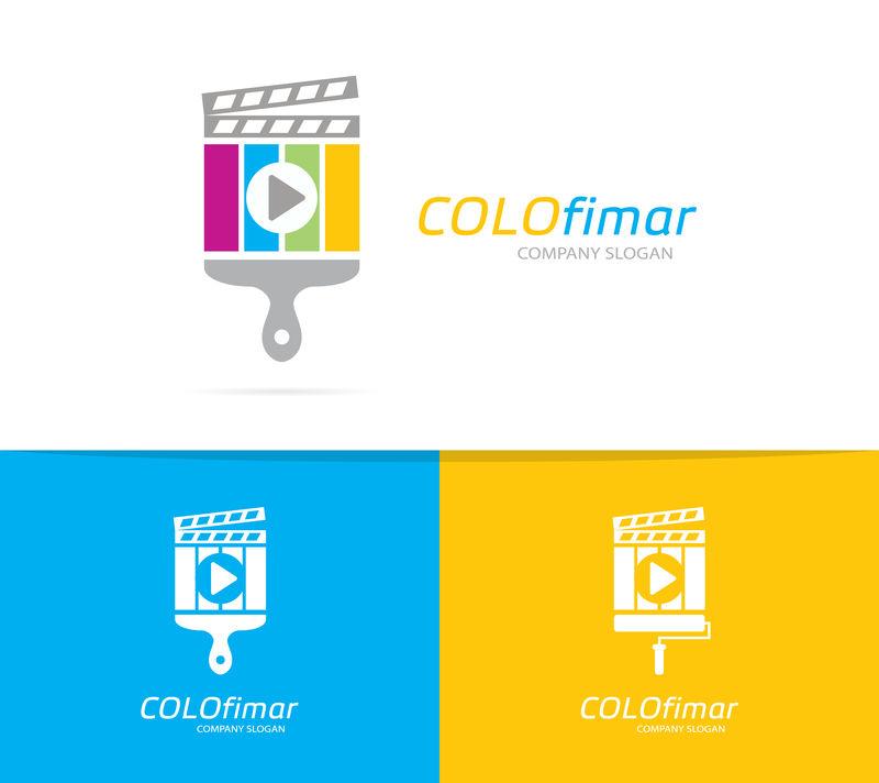隔板和刷子标识组合矢量。电影和画笔符号或图标。独特的电影和电影标识设计模板。