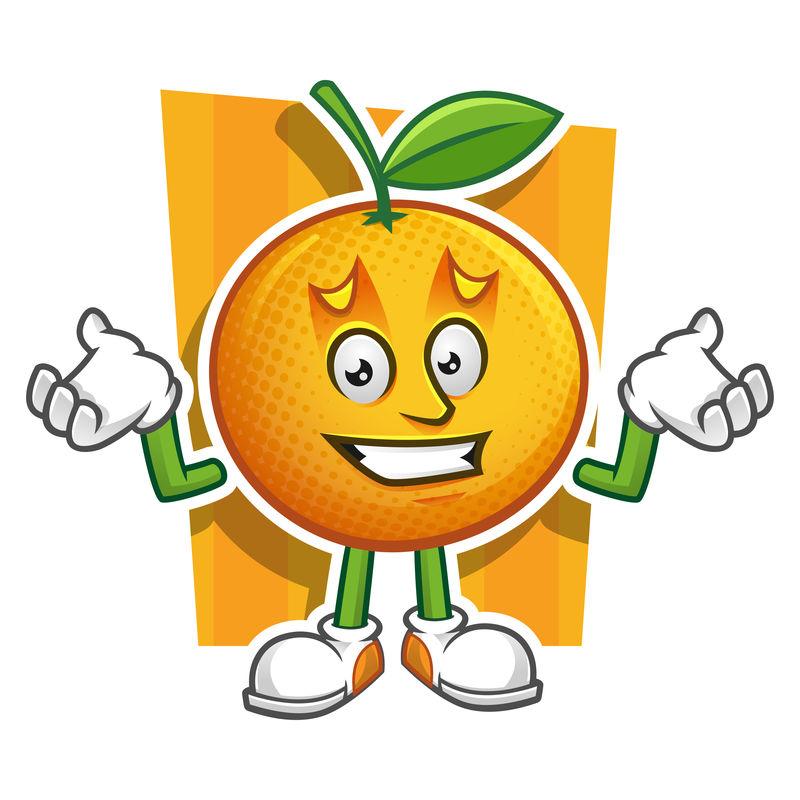 卡通橙色人物竖起大拇指