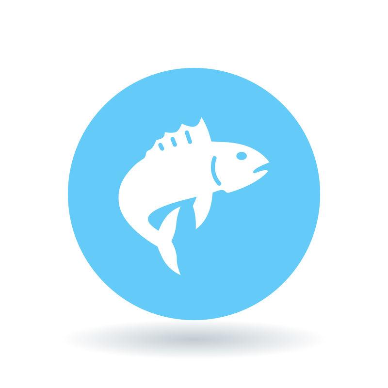 鱼图标。鱼跃标志。钓鱼符号。矢量图。