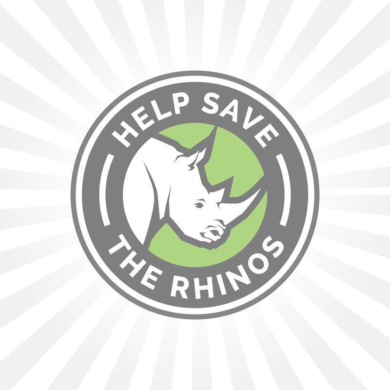 帮助保护犀牛免受非法狩猎图标标志的伤害