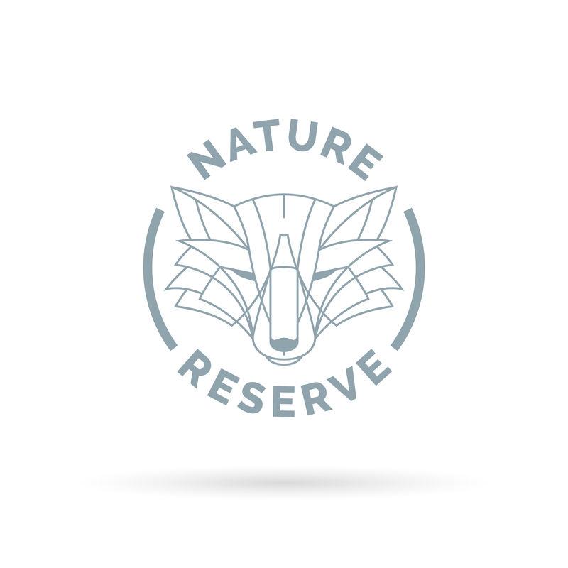 野生动物园自然保护区图标,带有野生狐狸线符号。