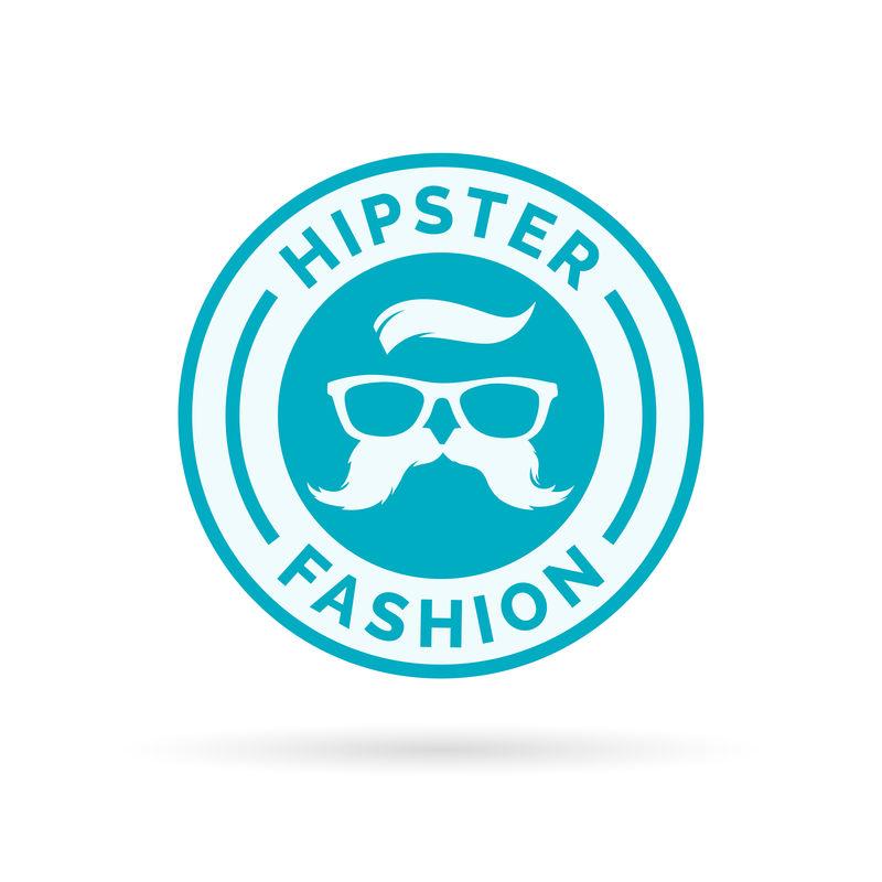 时髦时尚标志,带嬉皮士眼镜和小胡子符号sta