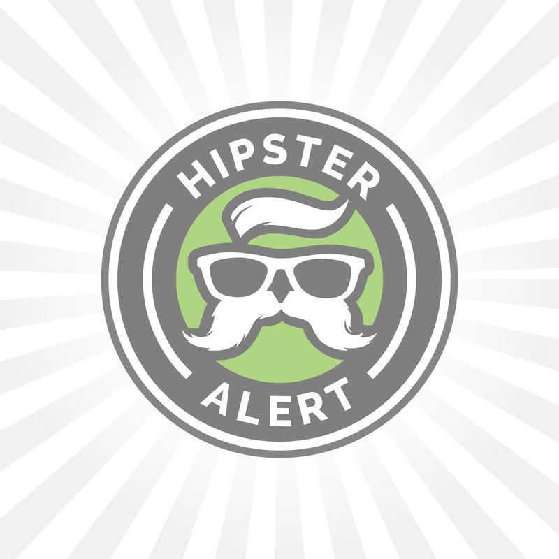 Hipster警报图标,带有嬉皮士眼镜和胡须符号。
