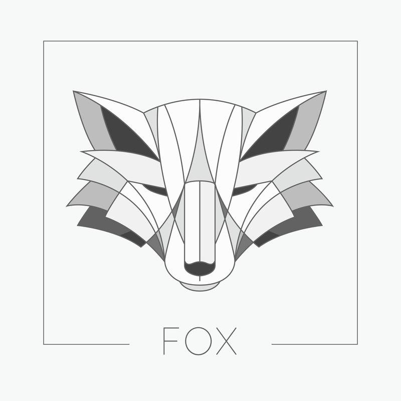 抽象狐狸头标志图标设计优雅线条造型ST