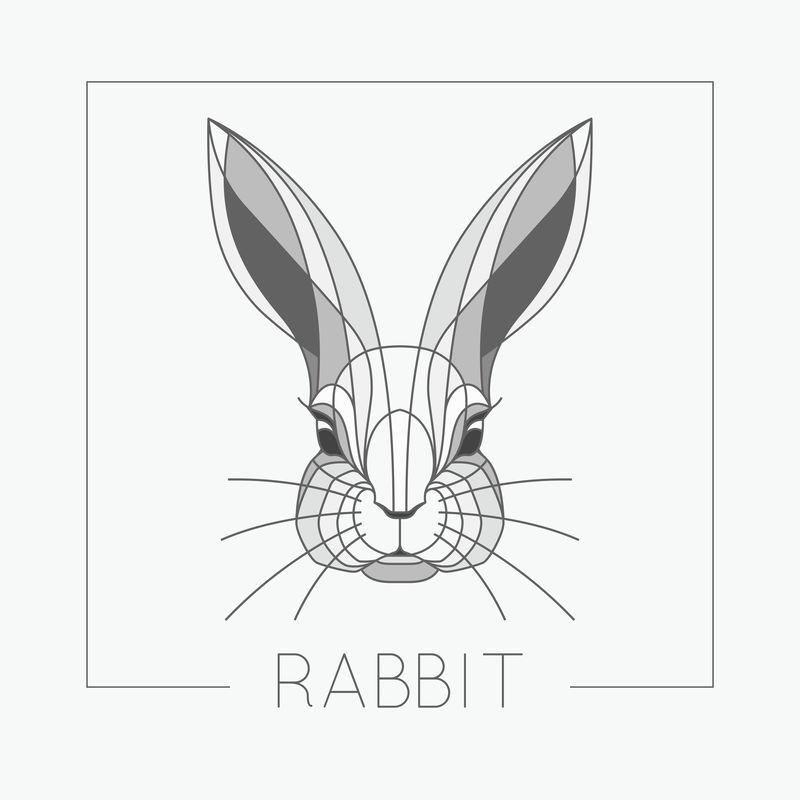 抽象兔头标志图案,线条优雅
