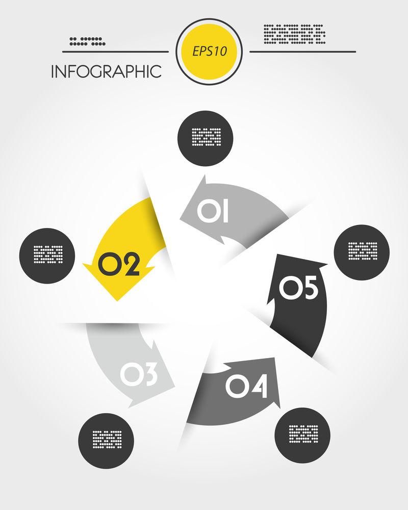 黄色信息图圆圈,有五个选项
