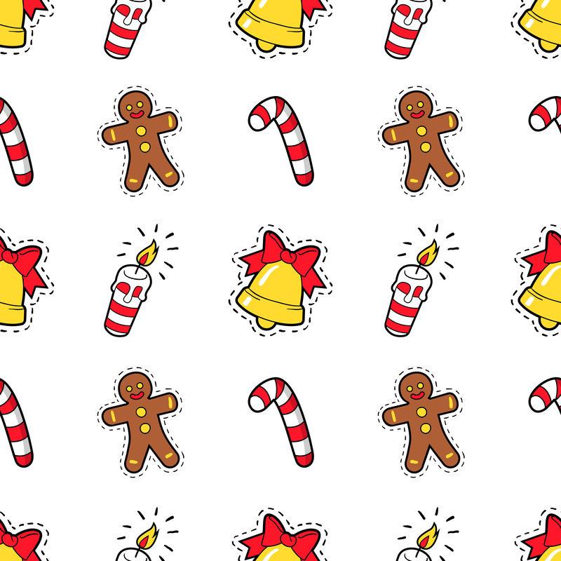 圣诞快乐,新年快乐,圣诞饼干糖果和蜡烛的无缝图案。寒假包装纸。矢量背景