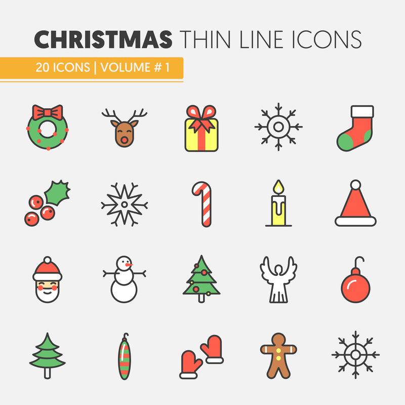 圣诞节和新年快乐2017细线矢量图标集圣诞老人驯鹿和圣诞树