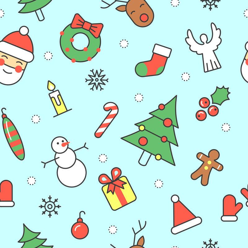 圣诞快乐,新年快乐,圣诞老人和圣诞树的无缝图案。寒假包装纸。矢量背景