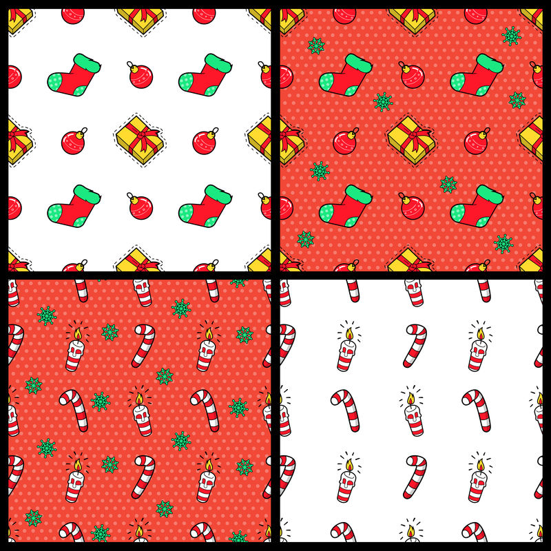 圣诞快乐和新年快乐无缝图案套装圣诞礼物糖果和袜子。寒假包装纸。矢量背景