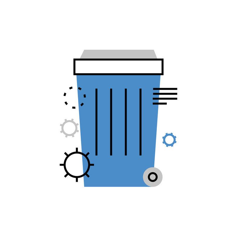 垃圾箱单平面图标。