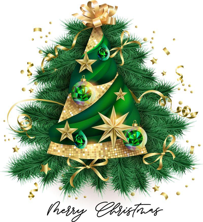 抽象圣诞树-绿色球-金色星星-3D效果
