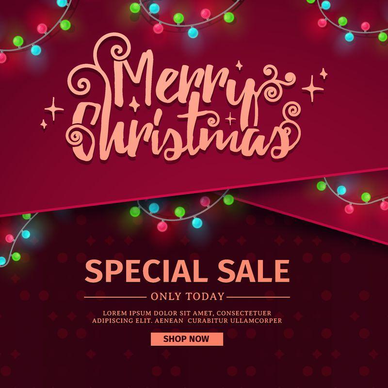 用于设计新年宣传横幅的模板-圣诞横幅出售-装饰有红丝带和夜光花环-矢量